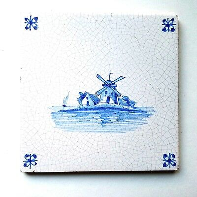 Vintage Hand Painted Windmill Ship Delft Blue & White Glazed Tile 5 1/8 ""