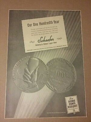1942 F&M Schaefer Lager Beer Ad 100th Year Commemorate New York