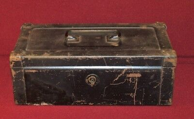 "Erie Art Metal Cash/Lock Box #81 heavy Industrial no Key Antique 10""x5""x4"" Nice"