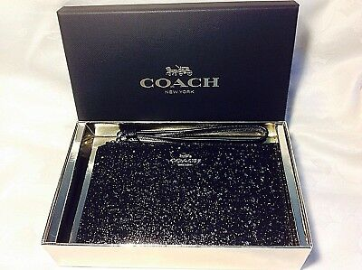 Nwt Coach Boxed Small Wristlet With Star Glitter F38641 Black $85