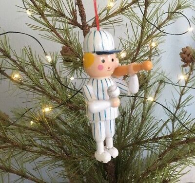 Wooden Christmas Ornament Baseball Player Vintage Midwest Importers Cannon Falls