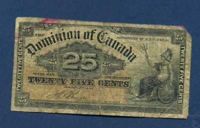 1900 Dominion of Canada Twenty Five Cent ShinPlaster Fractional currency