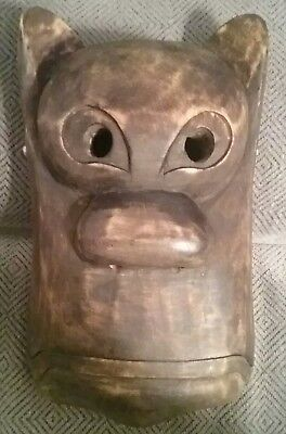 Vintage Asian wooden mask with hinged mouth by Monkey King Asian Folkcrafts
