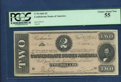 1864 Confederate States of America $2  T-70, PCGS Choice 55 About New