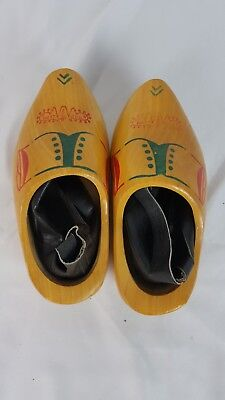 Pair of Decorated Made in Holland Wooden Shoes Child Size 23, 15.5 cm