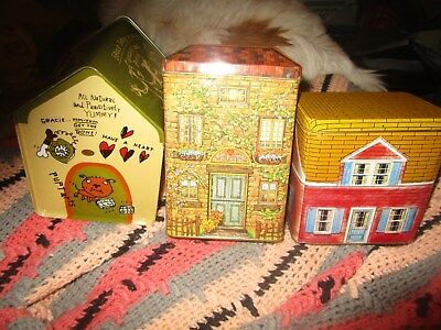 Houses - Three - Tin Canisters - Nice Older Collectible Items -  2 Houses 1 Dog