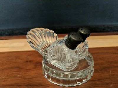 Antique Beachy Shell-Shaped Glass Salt and Pepper Shakers-Petite, Small Size