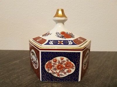 IMARI Style Octagon Candy Dish - Gold Gilded Floral Decor