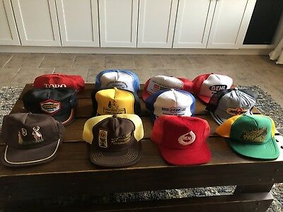 Vtg Lot Of 12 Farm Seed Snapback Hats Trucker Made In The USA Mesh Patch