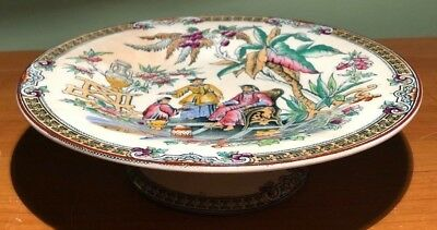Antique Beech & Hancock B&h China Pekin Chinoiserie Compote Footed Fruit Platter