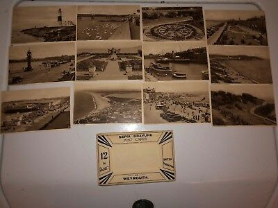 Vintage Set Of 12 Sepia Gravure Post Cards Weymouth
