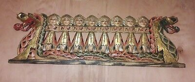 Vintage Chinese Dragon Boat Wooden Hand Carved Plaque with 8 Lady Passengers