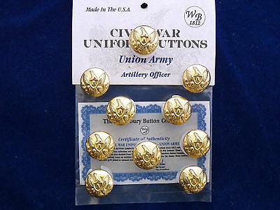 Union Army-Civil War Artillery Officer Buttons - 10 Pieces NEW