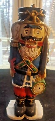 Vintage Hand-Painted Cast Iron Nutcracker Christmas Doorstop
