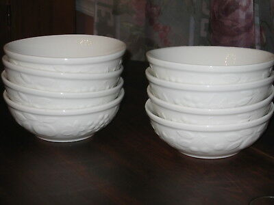 """Set of 8 Gibson White Embossed Raised Fruit 5&1/2"""" Berry Bowls All Purpose Bowls"""