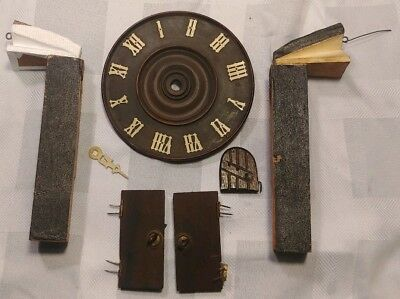 Antique German Black Forest Cuckoo Clock Parts Face Doors Bellows Whistle