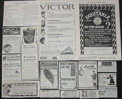 20pc Vtg Ads Lot~Antique Victorian 1890s-1900s~Paper Ephemera,Collage Art,Crafts