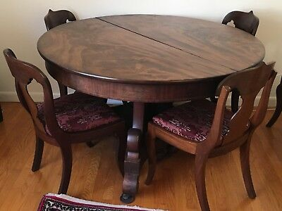 1820s/30s American Empire Mahogany Extending Dining Table & 5 Chairs