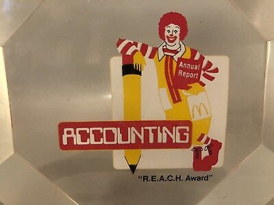 McDonald's Corporate Award Glass Paperweight Vintage Ronald McDonald