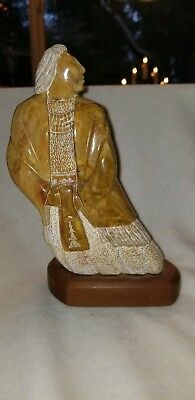Vintage Detailed Navajo Stone Sculpture In Beauty I Walk SIGNED D Willie