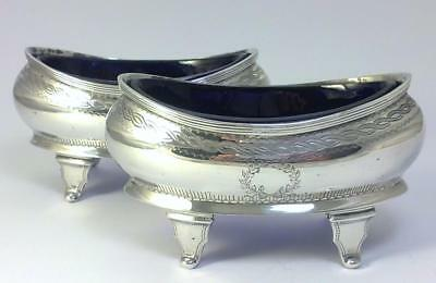 Pair of Antique hallmarked Sterling Silver Salt Cellars / Dishes & Liners – 1912