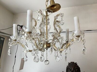 VINTAGE CHANDELIER HALLWAY BEDROOM ROOM 5 LIGHT FRENCH CRYSTAL CZECH No.102
