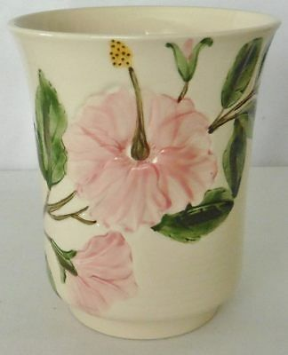 "Franciscan CATALINA Pottery POLYNESIA ART WARE**Floral Ivory VASE 6"" Tall"