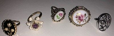 Vintage Costume Jewelry rings Lot of 5 Estate Find All Flowers / Floral
