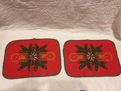 Vintage Christmas Placemats From Germany Candles & Star Jute Fabric