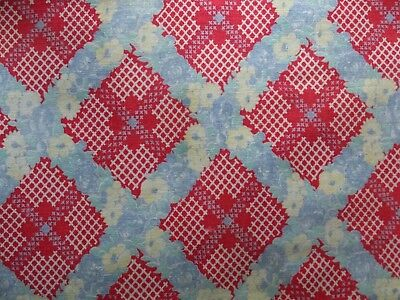 Vintage Red Blue Floral Gingham Check Cotton Feedsack Fabric