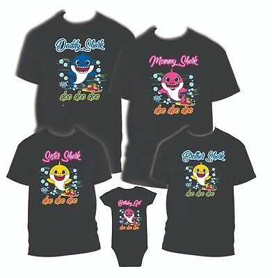Baby Shark Birthday Matching T-shirts Party Family Kid Reunion Mom, dad, Black