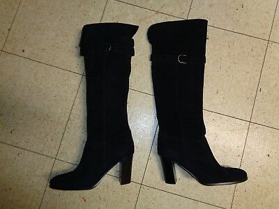 Jacqueline Ferrar Over The Knee Tall Boots Black Suede Leather Heels Size 11M