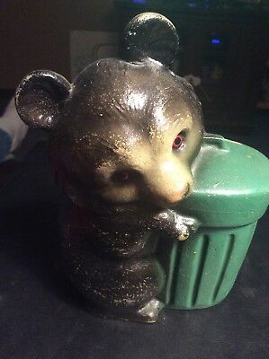 "Vintage Plastic Figural BANK, BLACK BEAR HUGGING TRASH CAN 6""  Very Cool"