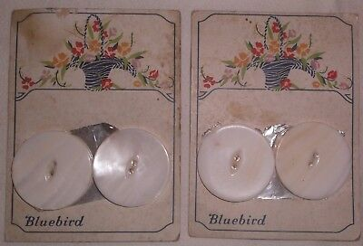 "4 Vintage Bluebird Mother of Pearl MOP 1½"" shell buttons 2 cards"
