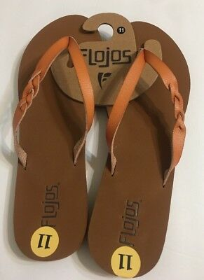 72f1358e9aa79e Flojos Serenity Size 11 Flat Brown Leather Straps-Sandals~Flip Flops~Thong  Nwt