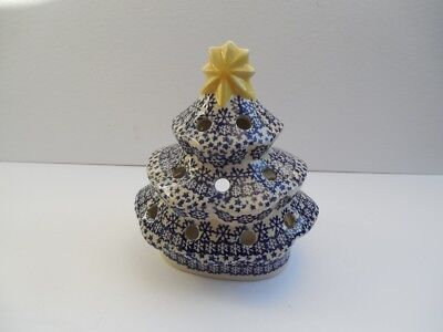 "Boleslawiec Polish Pottery CHRISTMAS Tealight Tree Tea Light Blue 7 3/4"" Mint"