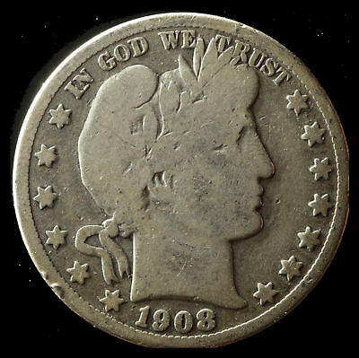 1908-S Barber 90% Silver Half Dollar Ships Free. Buy 5 for $2 off