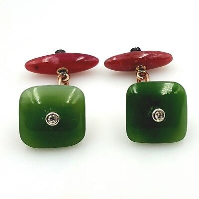 A pair of Antique Russian   Nephrite Rhodonite  Cufflinks  Late 19th-Early 20th