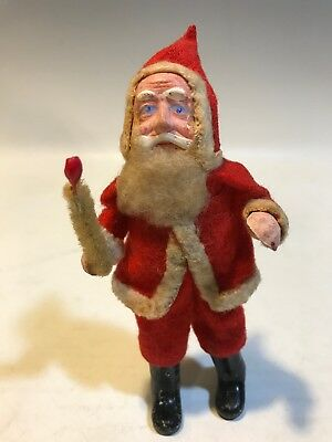 "Vintage Composition/Paper Mache Santa Claus Figure 5"" Tall Wire Body Nice"