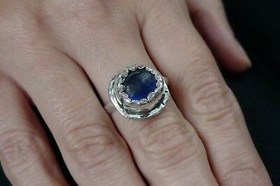 British Uk Metal Detecting Medieval Tudor Ladies Silver Ring Sapphire Blue Stone