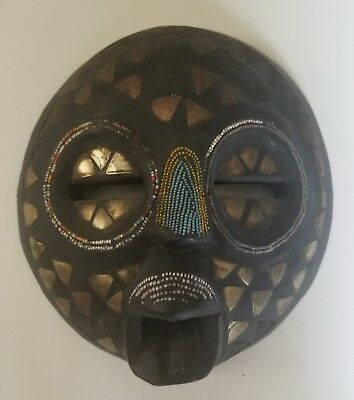 Antique Tribal Africa African Baoule Baule Wood Hand Carving Face Head Moon Mask