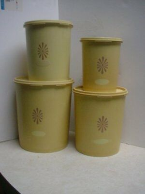 Vintage Tupperware 4 PC Nesting Canister Set - Yellow Harvest Gold - NICE!