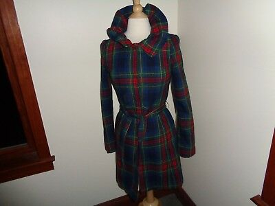 Anthropologie Plaid Wool Blend Coat Ruffled Neck Size S Belted