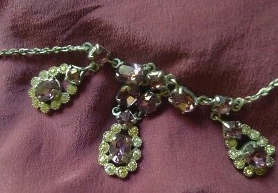 Vintage Victorian Revival Amethyst Glass Rhinestone Necklace 1950s-NZ Estate