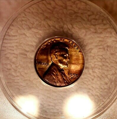 1955-S Lincoln Wheat Cent MS66RB  ANACS WOODGRAIN TONED OBVERSE