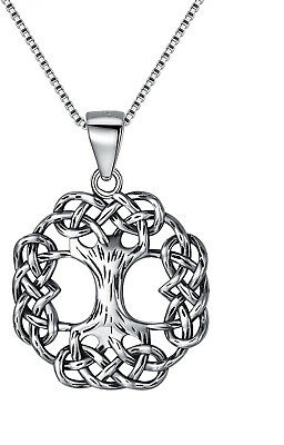 Sterling Silver Tree Of Life Celtic Knot Ancient Round Pendant Necklace 20 inch