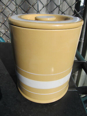 """Over & Back YELLOW WARE Rare White Stripes 7 1/2"""" Tall Canister & Lid"""