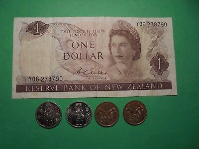New Zealand $1 Banknote & Coins