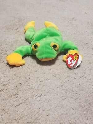 Ty Beanie Babies October 1, 1997 Smoochy The Frog Tag PE Green Yellow