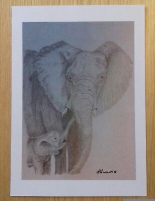 ELEPHANT & CALF Unique A5 print of Original Art Drawing Wild Animal gift